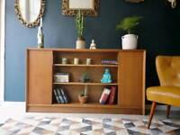 Mid century teak H. Gibbs slim sideboard / display cabinet