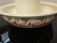 A large Hanley & Sons water jug and bowl with oriental print design, victorian