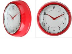 Home Retro Inspired Kitchen Wall Clock, Large Easy-to-Read Dial Red