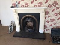 Fireplace with fire insert ( stove fire landlord house bedroom rent )