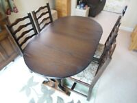 Dark Oak Wooden Extending Dining Table with 4 Chairs by New Plan