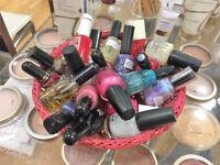 Basket of assorted colour nail polish