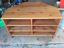 Ikea Leksvik solid pine television/media corner unit with adjustable shelves