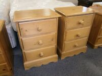 Excellent quality and condition, matching 3 drawer solid pine beside cabinets