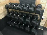 Strength shop hex dumbbell set with rack