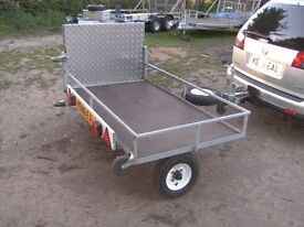 MOBILITY SCOOTER ETC TRANSPORTER CAR TRAILER FULLY GALVANISED WITH FOLDING RAMP..