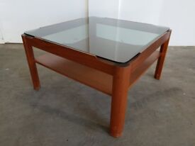 MYERS & CO. TEAK SMOKED GLASS TOP RETRO COFFEE TABLE MID CENTURY TABLE DELIVERY AVAILABLE