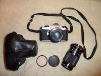 Pentax M E Super SLR film camera + telephoto lens + filters