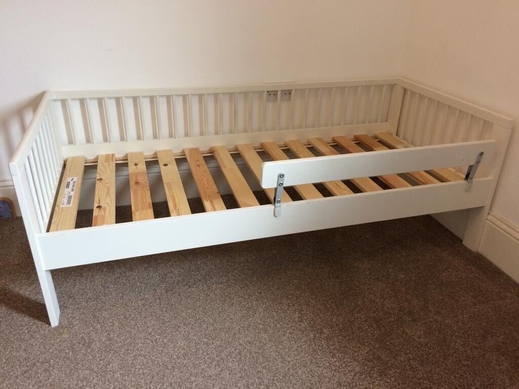 Kids Ikea white toddler bed with bed guard rail & mattress ...