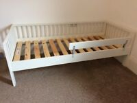 Kids Ikea white toddler bed with bed guard rail & mattress