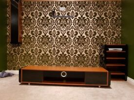 Walnut 3 piece entertainment units with built in quality sound bar