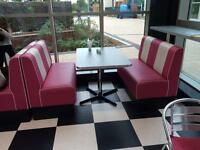 American diner booth seating x 2 with table