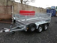 New trailer twin axle with mesh and brakes 10 x 5 2700 kg