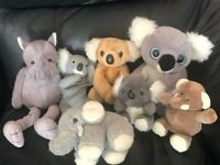 £1. Set of various soft toys.