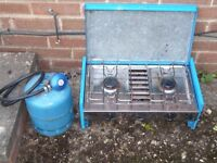 Camping Stove with Gas Valve and Cylinder