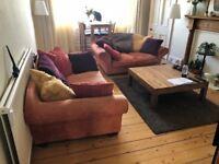 2 seater sofa and 3 seater Sofa - Apricot Velvet (French designer)