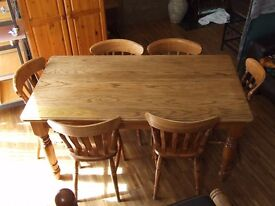 DINING TABLE AND 6 CHAIRS (SOLID OAK SET) EXCELLENT CONDITION FREE EDINBURGH DELIVERY
