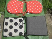 One Set of Red and White Spotted Garden Chair Cushions for £2.00
