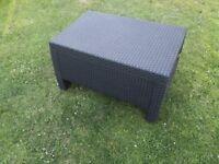 Dark brown plastic rattan effect garden/conservatory table £40