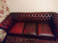 3 seat ox blood red leather Chesterfield couch with matching club house chair