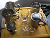 4 Pewter Tankards, 1 Pewter Goblet and 3 1953 glass comemerative tankards