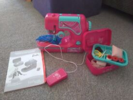 Children's Barbie sewing machine and sewing box