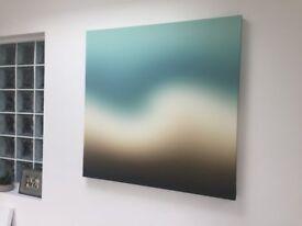 Original modern art printed large canvas - Turquiose/cream/brown 100cm square.