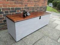 XL 150cm Long Ottoman/trunk/storage chest/window seat. Rustic shabby chic.