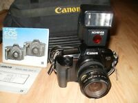 Canon EOS 650, 35mm camera, with Data Back, 35-70mm lense, Flash, Carrier Bag and Accessories.