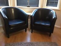 As new pair black faux leather tub chairs