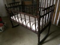 Antique solid wood rocking cradle