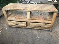 Reclaimed wood tv unit. 2 drawers