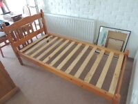Pine single bed frame excellent condition with or without mattress