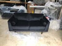New Jackson 2 seater black velvet sofa