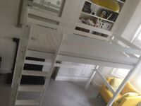 Highsleeper, solid beech wood, with mattress from ikea. Originally £370. On sale for £120.
