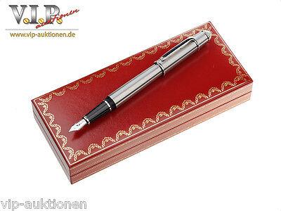 Cartier Diabolo Fountain Pen Fountain Pen Feather Pen 18 k gold nib + Box