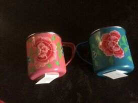 A Brand New Pair of Beautiful Frangipani Metal Mugs