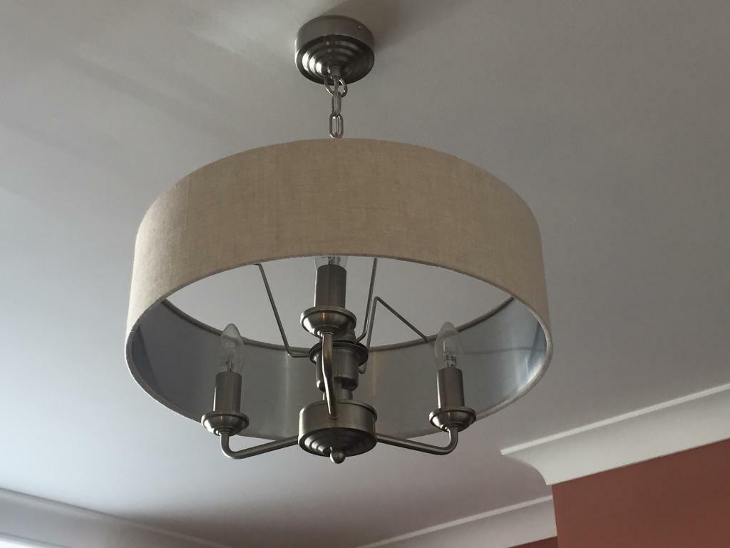 Laura Ashley Soro 3 Arm Ceiling Pendant Chandelier Light With Natural Shade