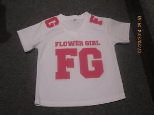 """Flower Girl"" crested shirt (White with Pink Lettering)"