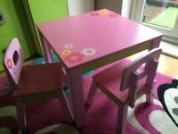 Table and two chairs for kids