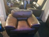 Brown leather sofa 3+2+1