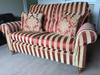 Ponsford 2 seater striped sofa with arm caps and co-ordinating cushions