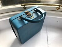 Vintage Antler vanity / beauty case turquoise faux leather