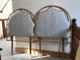 Two bamboo single bed headboards.