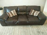 3 piece leather sofa suite with footstool