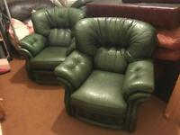 2 green leather chairs + free delivery