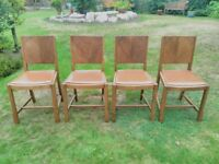 Set of 4 Vintage Retro 1930s or 1940s Attractive Wooden Dining Chairs