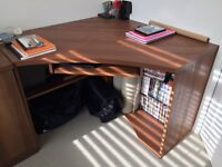 Excellent condition curved dark wood desk