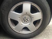 ALLOY WHEELS WITH BRAND NEW TYRES / RIMS / ALLOYS GOLF 5x100