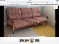 60s vintage Danish teak 3 seater sofa